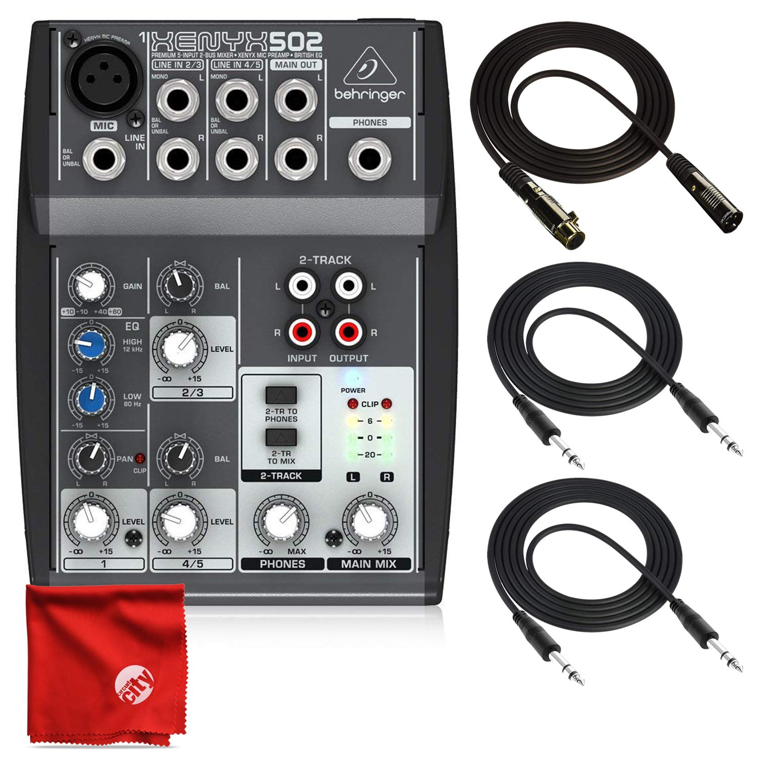 Behringer Xenyx 502 Premium 5-Input 2-Bus Mixer with XENYX Mic Preamp and British EQ Bundle 2X 10ft TRS Cables Deluxe 10ft XLR Cable Cleaning Cloth