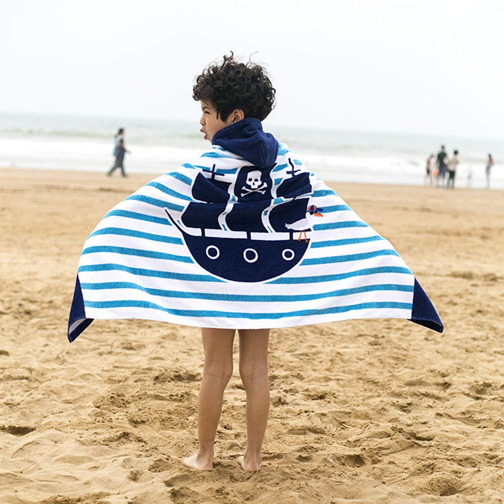 Transer 幼児用フード付きビーチバスタオル クジラ ソフトスイムプール アウトドア カバーアップ ポンチョ ケープ 男の子 女の子 子供 1~12歳 バスローブ 42.7x29.9インチ E E  B07QK9W3XQ