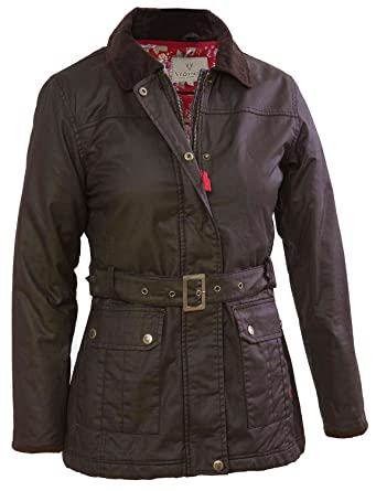 VEDONEIRE Womens Wax Jacket (5050) BROWN with belt waxed cotton ...