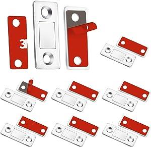 Teloky Cabinet Door Magnets, 8 Pack Ultra Thin Magnetic Door Catch with Stainless Steel Screws, Drawer Magnet Catch for Kitchen Closet Door Closing Magnetic Door Catch Closer (8 Pack)