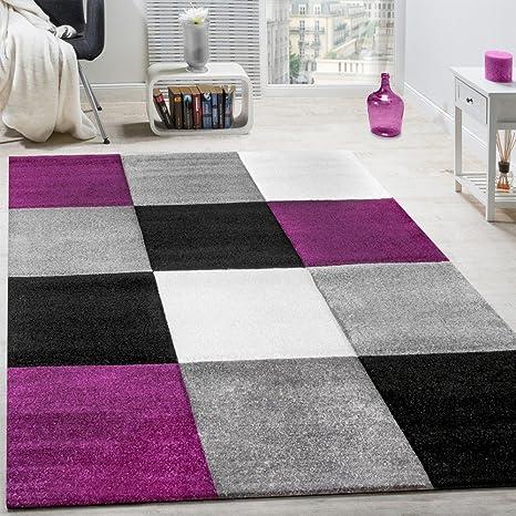 Tappeto moderno soggiorno pelo corto motivo quadri lilla nero