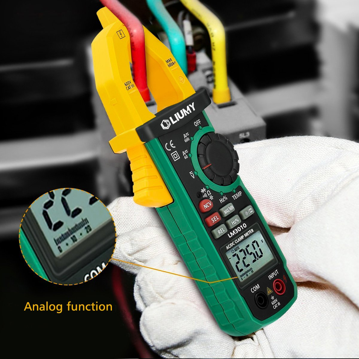Digital Clamp Meter, LIUMY Auto-Ranging AC/DC Clamp Multimeter with Analog Function, NCV, Work Light/ Memory peak, Non- contact Voltages/ Frequency/ Resistance/ Capacitance/ Connections/ Diodes by Liumy (Image #5)