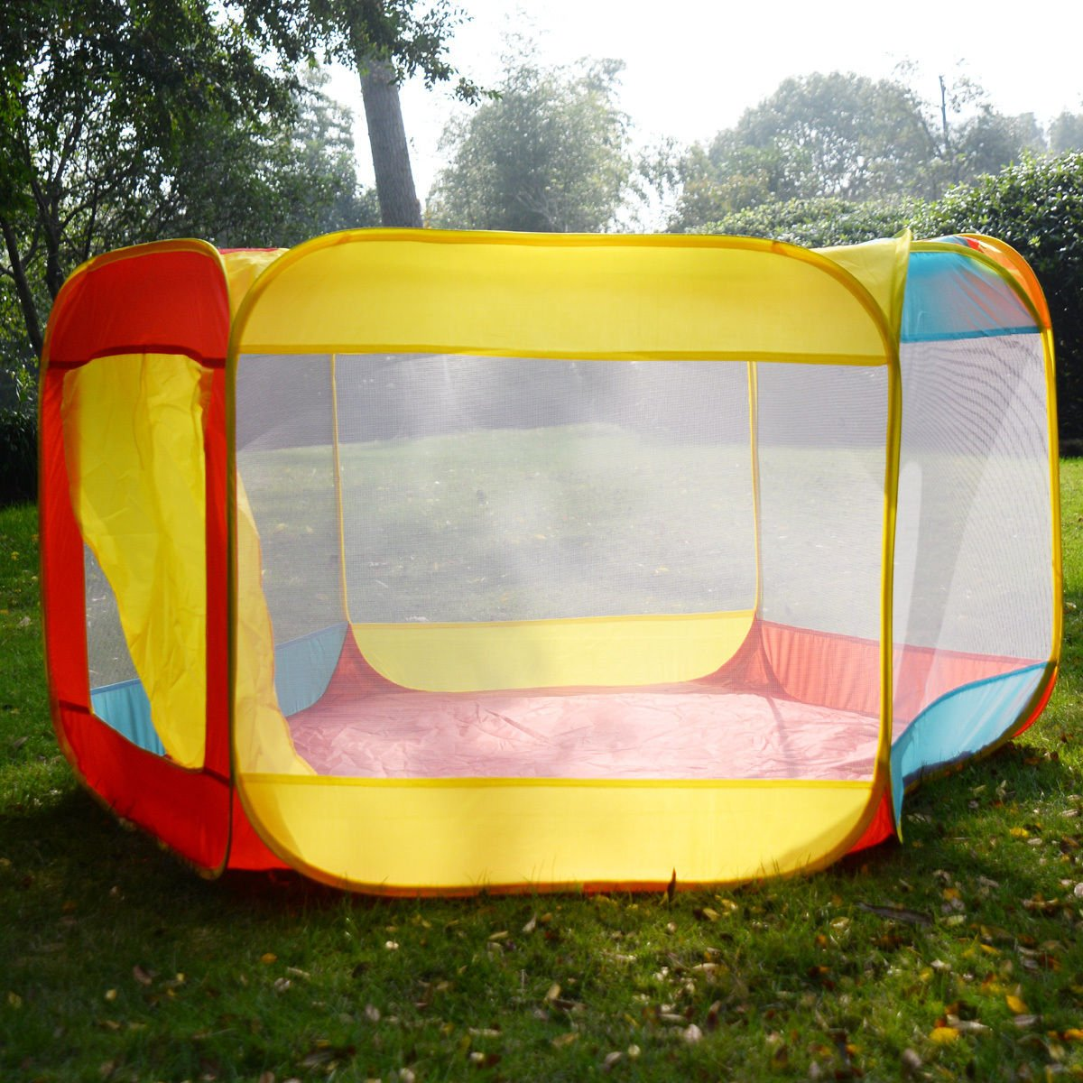 Folding Portable Children's Play Yard Playpen With Travel Bag Indoor/Outdoor Used (US Stock)