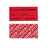 100pcs 100% Total Transfer Tamper Proof Security Warranty Void Labels/ Stickers/ Seals (Red, 1 x 2 Inches, Unique Numbers - T