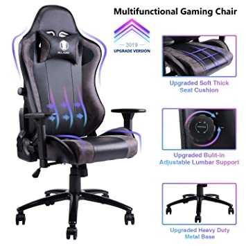 Stupendous Von Racer Gaming Chair With Adjustable Built In Lumbar Support Big And Tall Ergonomic Racing Computer Chair High Back Leather Office Desk Chair Squirreltailoven Fun Painted Chair Ideas Images Squirreltailovenorg