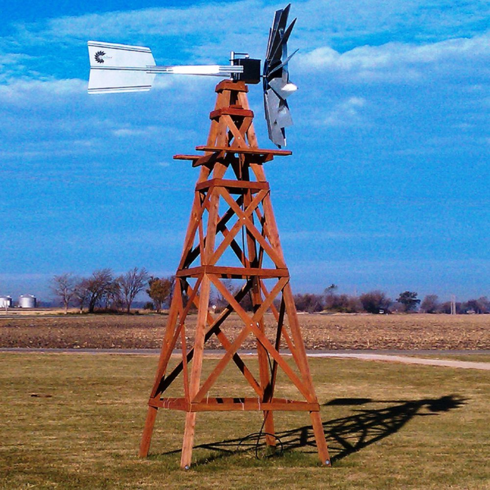 Outdoor Water Solutions Red Cedar Aeration Windmill - 16 Foot