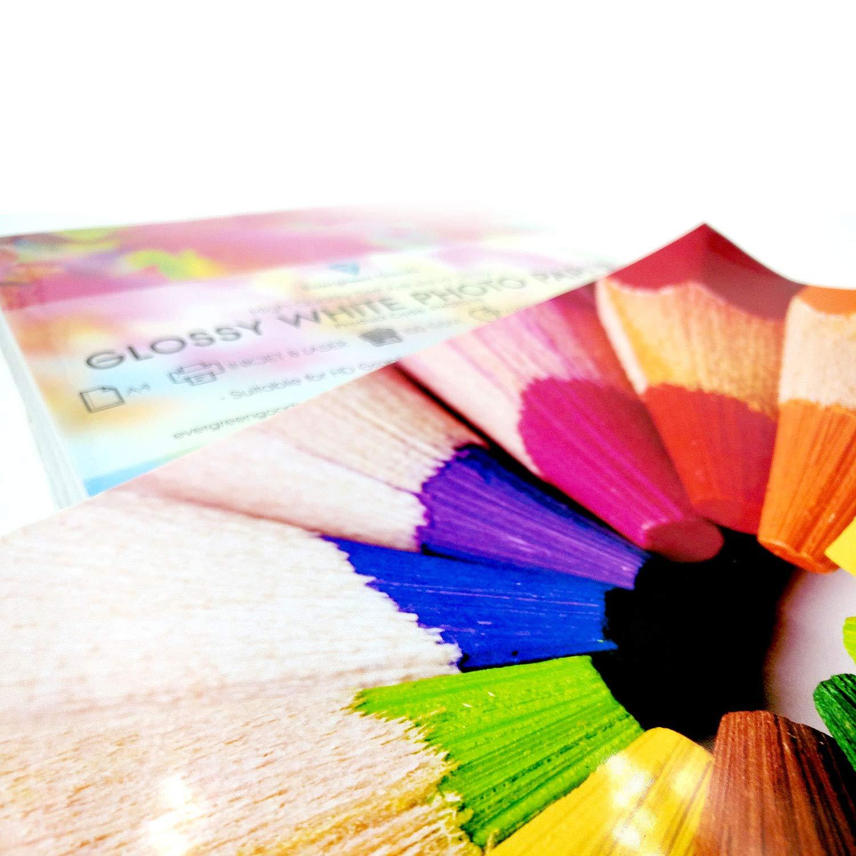 Evergreen Goods Ltd 100 Blatt A4 wei/ß Premium gl/änzend selbstklebende R/ückseite Etiketten Bild Aufl/ösung Druckpapier Blatt