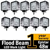 ( Pack of 10 ) TMH® 48w Square Shape 60 Degree LED Work Light Flood Lamp Driving Light, Jeep, Off-road, 4wd, 4x4, Utv, Sand Rail, Atv, Suv, Motorbike, Motorcycle, Bike, Dirt Bike, Bus, Trailer, Truck
