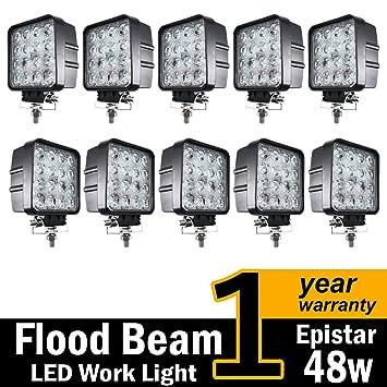 (10 unidades) TMH® 48 W Forma Cuadrada 60 grados LED Luz de trabajo