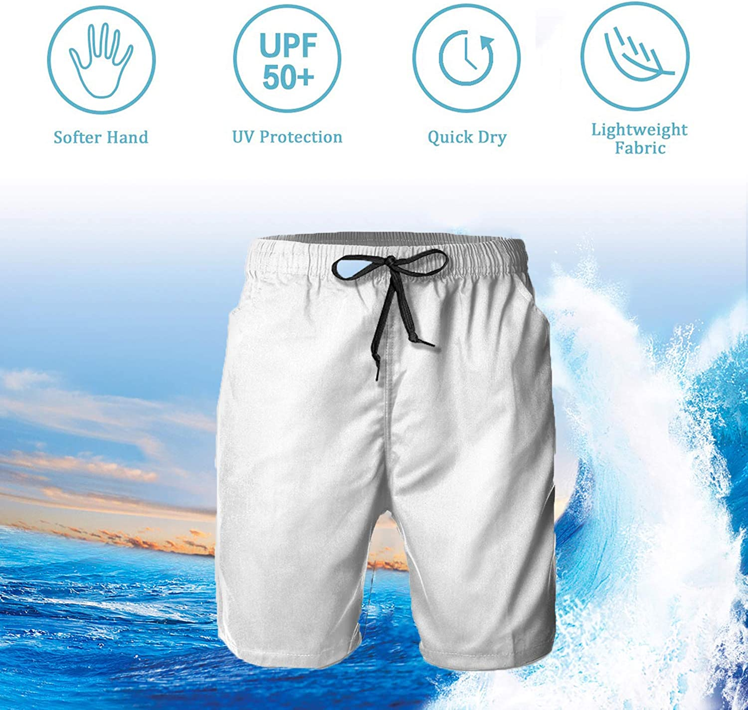 Mens Casual Classic Fit Short Summer Beach Shorts Christmas Holiday Danish