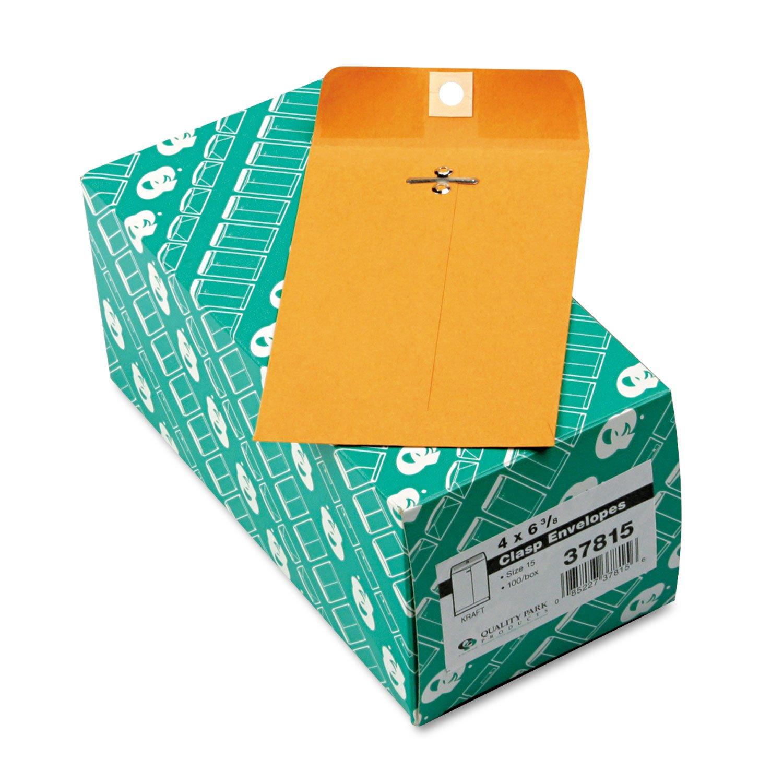 Quality Park 37815 Gummed Clasp Envelope, 28Lb, 4''x6-3/8'', 100/BX, Kraft