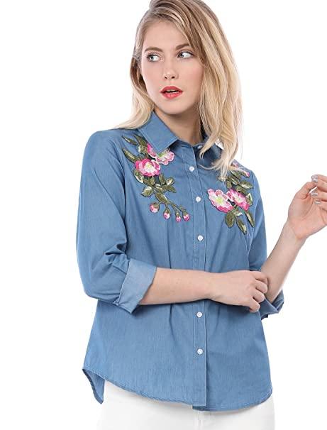 Allegra K Women s Floral Embroidered Applique Button Down Chambray Shirt XS  Blue 7c894b10de