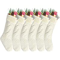 """Goege Bailey Pack 6,14"""" Unique Ivory White Knit Christmas Stockings"""