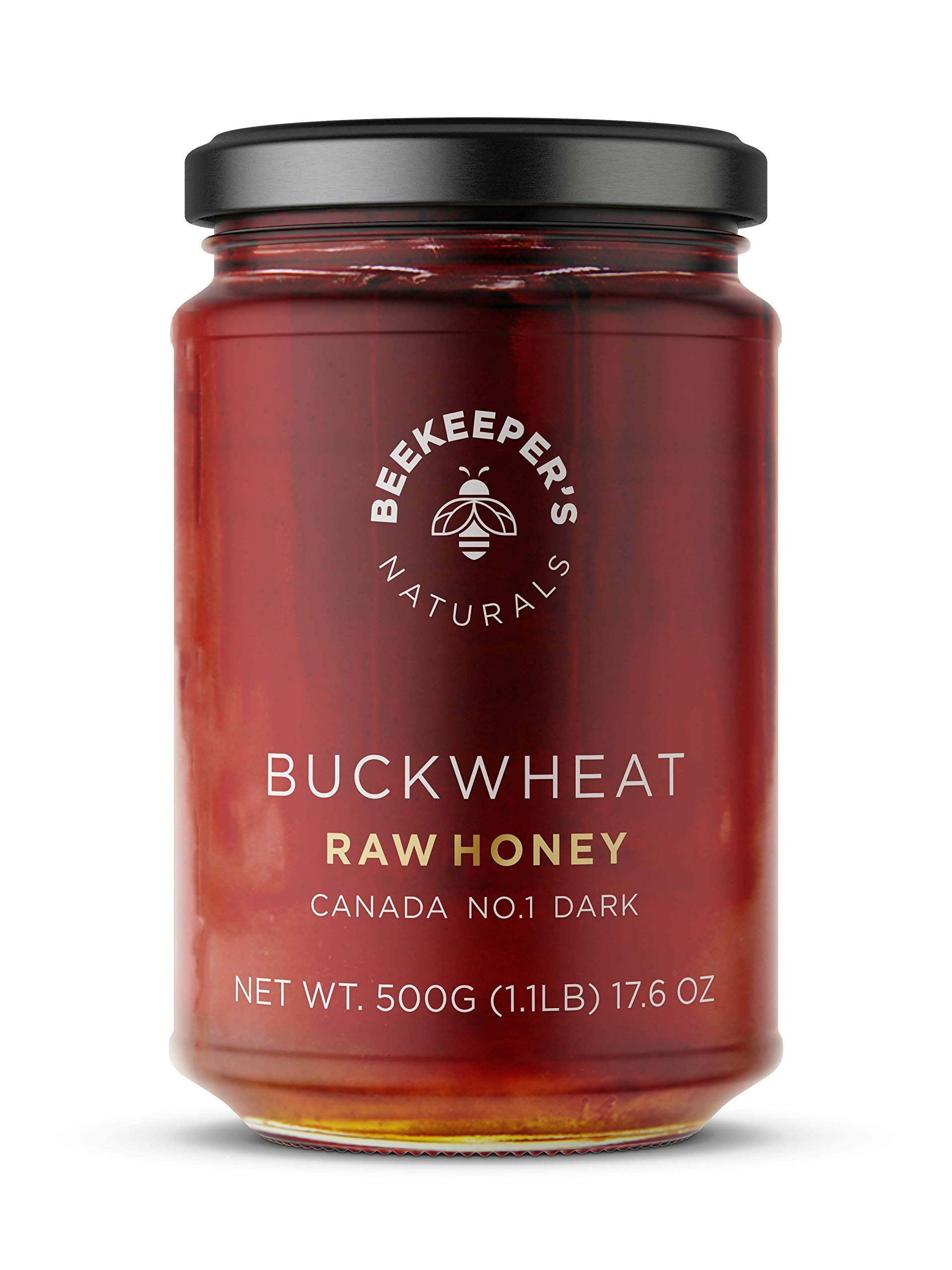 BEEKEEPER'S NATURALS Buckwheat Honey - Unprocessed Ultra-Pure Honey, Containing No Additives - High In Antioxidants and Beneficial Enzymes - 100% Raw, Pure Honey - Paleo-Friendly, Gluten-Free (1.1lbs)