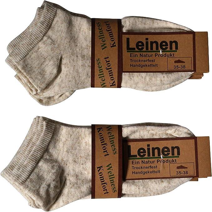 4 Paar Damen Leinensocken  50/% Leinen 50/% Baumwolle 100/% Natur beige 35 bis 42