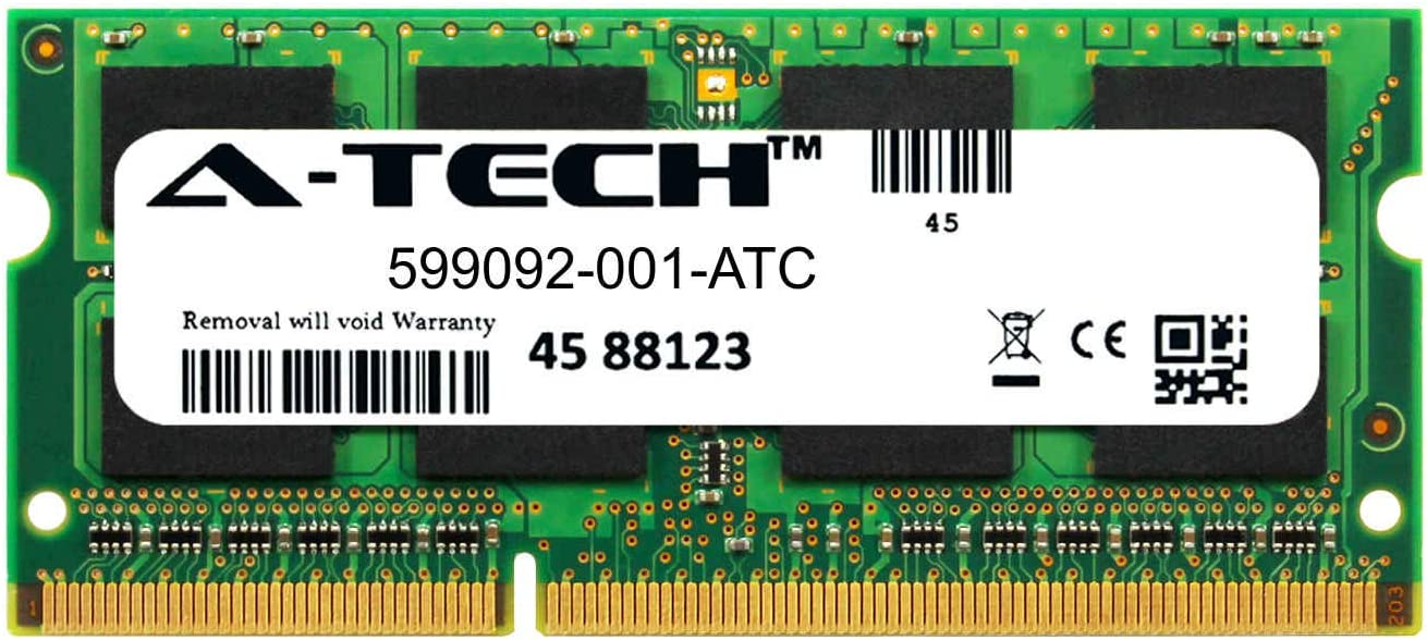 A-Tech 4GB Replacement for HP 599092-001 - DDR3 1333MHz PC3-10600 Non ECC SO-DIMM 1.5v - Single Laptop & Notebook Memory Ram Stick (599092-001-ATC)