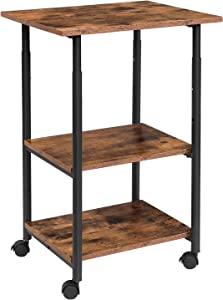 HOOBRO Mobile Printer Stand, 3-Tier Printer Cart with Storage Shelf, Height Adjustable Machine Cart on Wheels, Projector Cart, Industrial Style in Office, Home Office, Rustic Brown BF03PS01