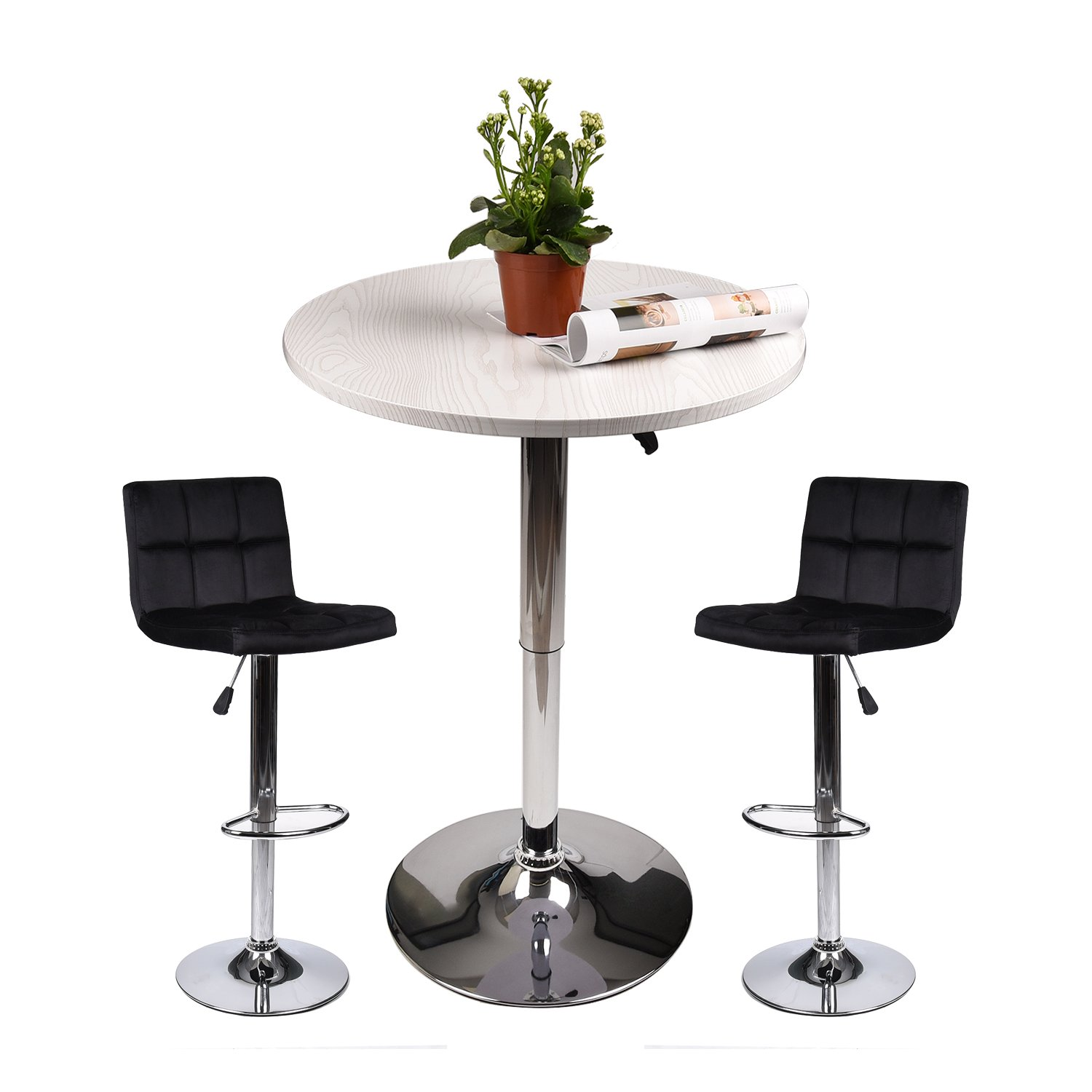 Elecwish Pub Table with Bar Stools Set for Kitchen Home Dining Room (Black Set C)