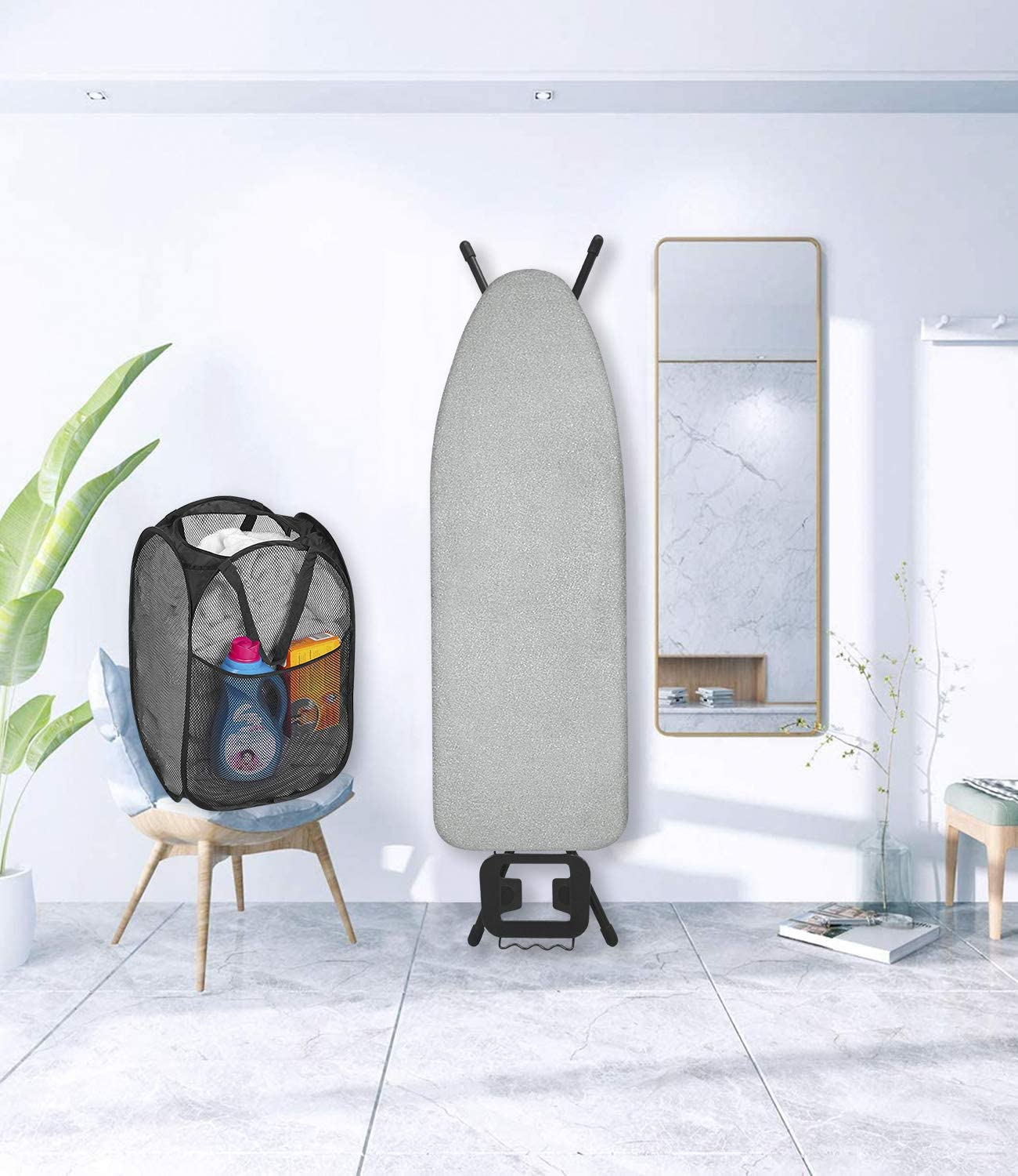 Seiritex Ironing Board Cover for Extra Wide with Silicone Coating Scorch and Stain Resistant Elasticized Edges Ironing Board Covers 18x49 1 Large Protective Scorch Mesh Cloth 1 Pop-up Laundry Basket