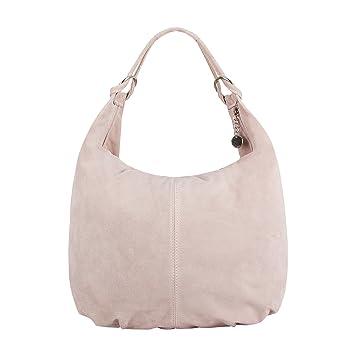 SKUTARI Laura Wildleder Shopper Damen, Rosé | Elegante Echtleder Handtasche mit eingenähter Innentasche | Umhängetasche, Schultertasche, Leder Tasche,