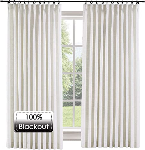 Prim Bedroom Extra Wide Linen Curtains Drapes Room Darkening Thermal Insulated Blackout Pinch Pleat Large Window Curtain
