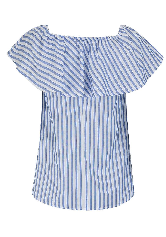 MARC AUREL Bluse Off-Shoulder-Kragen Volant Streifen blau/weiß Größe 34:  Amazon.de: Bekleidung