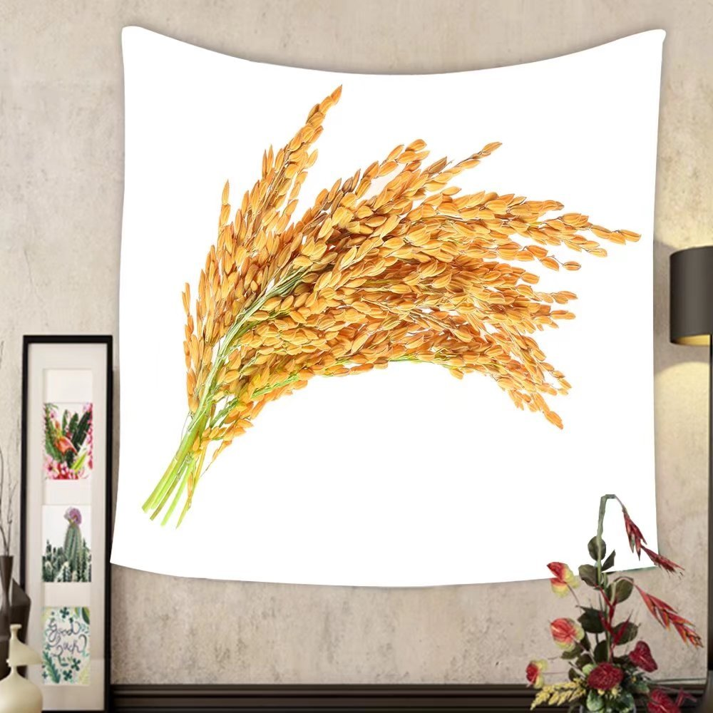 Lee S. Jones Custom tapestry ear of paddy ears of thai jasmine rice isolated on white background by Lee S. Jones
