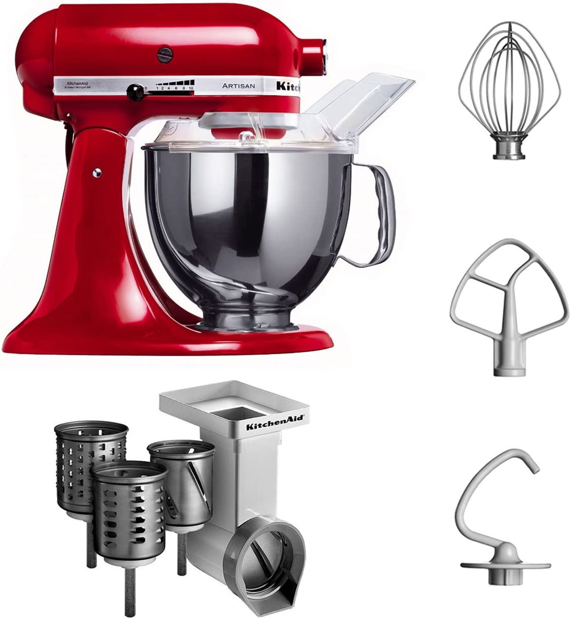 KitchenAid KSM150PSEER + MVSA - Robot de cocina y juego de accesorios, color rojo: Amazon.es: Hogar