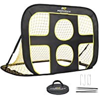 PodiuMax Kids Soccer Goal Net Portable 2 in 1 Pop up Children Football Target Net with Carry Bag Black/Yellow (120x80x80cm)