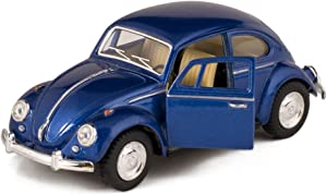 Blue 1967 Classic Die Cast Volkwagen Beetle Toy with Pull Back Action by Kinsmart