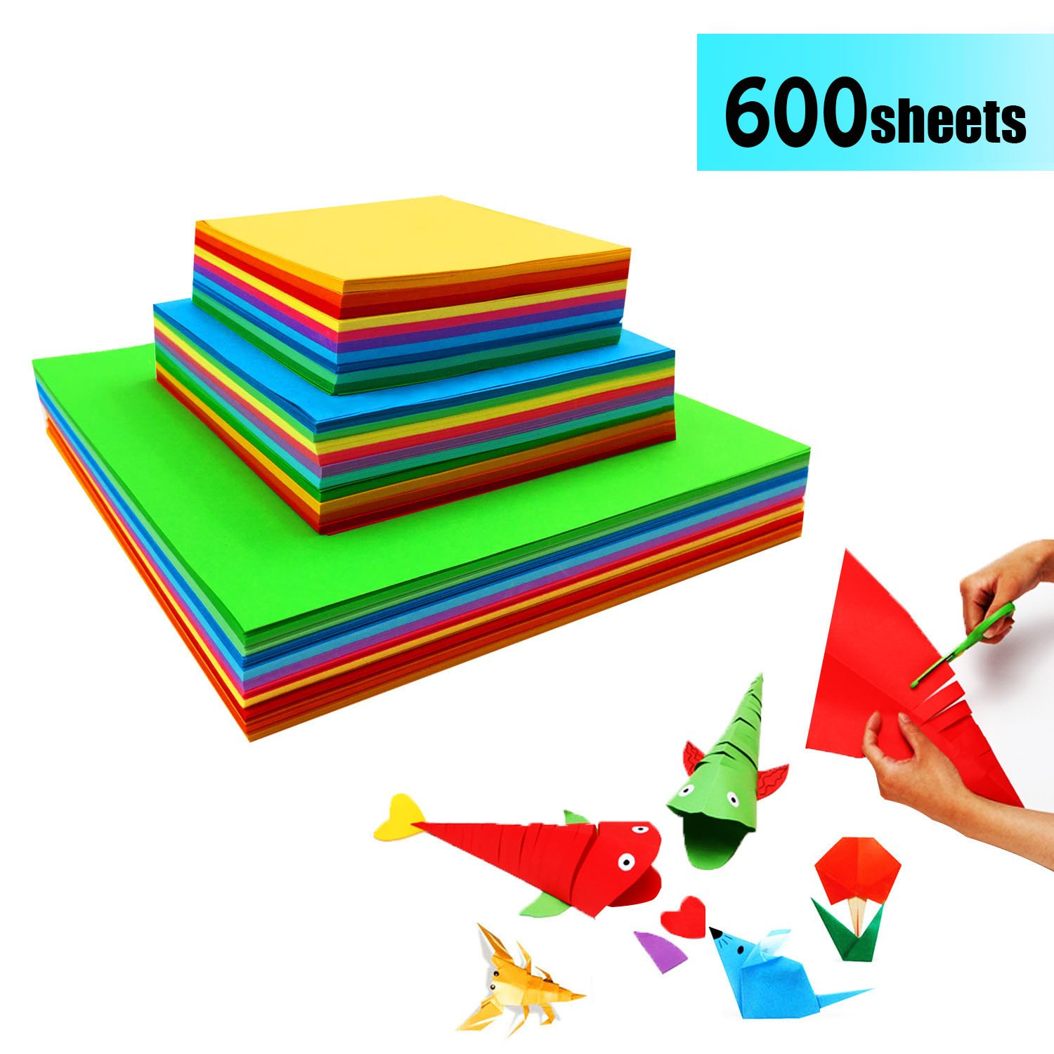 Coloured Origami Paper - 600 Sheets Square Coloured Papers Double Sided Craft Art Paper for DIY Handcrafts JXFF Ltd.