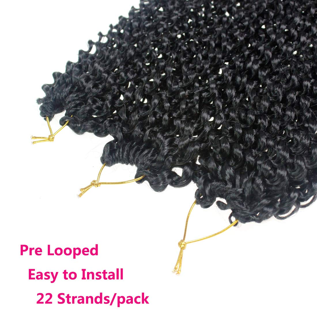 18 inch Passion Twist Crochet Hair 6 packs/lot Water Wave Crochet Braiding Hair Long Bohemian Hair for Passion Twist Pre Looped Synthetic Natural Hair Extensions Soft Lightweight (1B#)