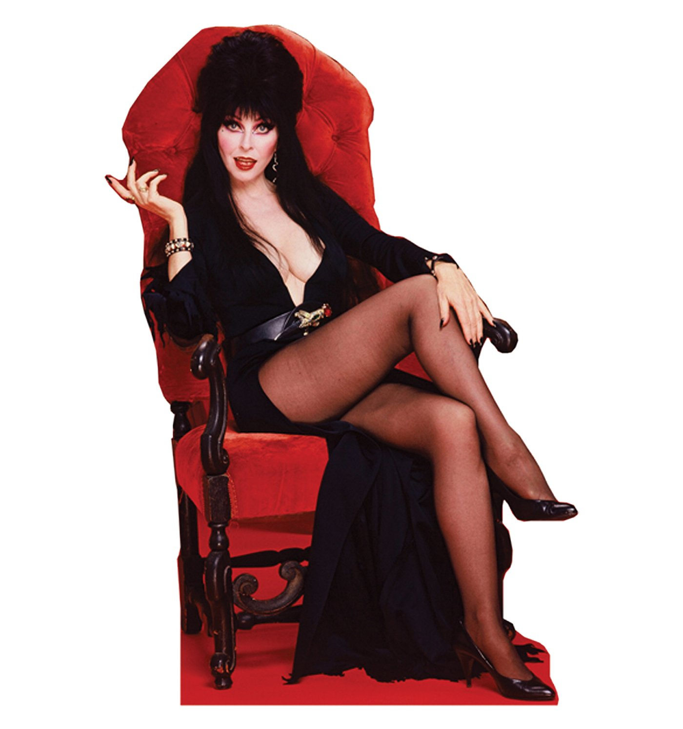 Elvira on Red Chair Lifesize Cardboard Standup