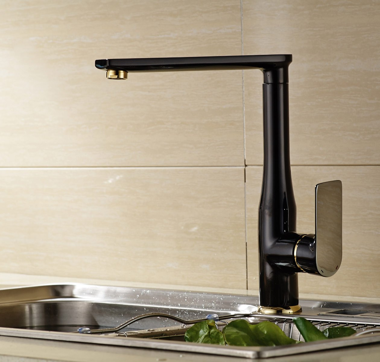 LDONGSH Hotel Copper Hot And Cold Mixed Water Kitchen Paint European Style American Style Satin Finish Wash Basin Faucet,Black