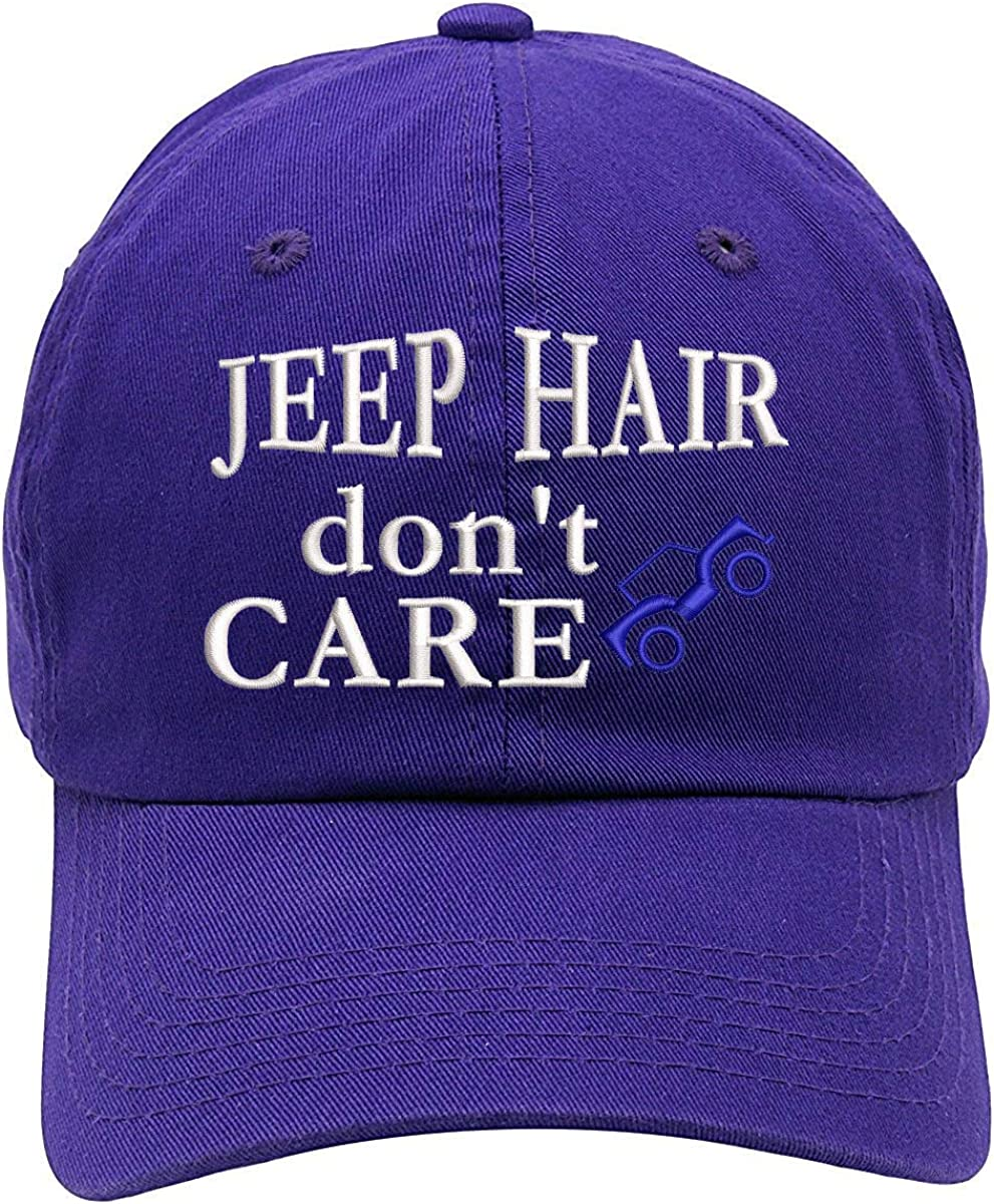 TOP LEVEL APPAREL Jeep Hair Don't Care Car Embroidered Soft Cotton Dad Hat