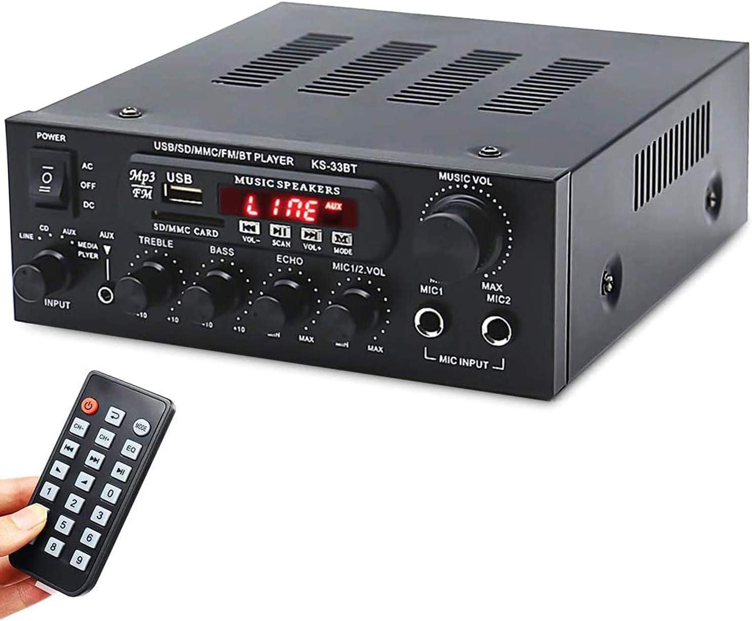 Facmogu KS-33BT 500W+500W 2CH Bluetooth Power Amplifier, 2xMic Input Digital Audio Player Home Stereo HIFI USB Memory Card Aux FM AMP 110V