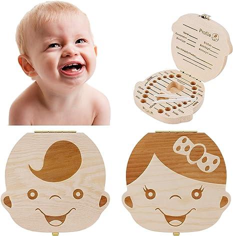 Caja de recuerdos para dientes de bebé, caja de recuerdo de madera con diseño de hada con dientes de leche, ideal como regalo para baby shower Talla:For Boy: Amazon.es: Bebé