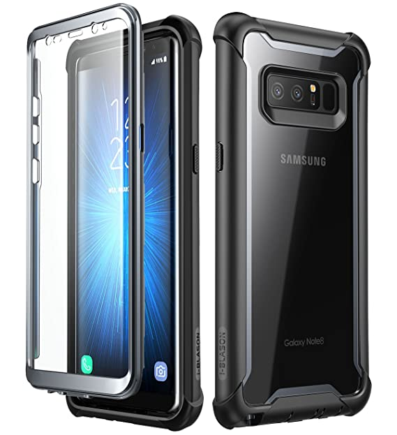 size 40 52e81 f2ad9 i-Blason Case for Galaxy Note 8 2017 Release, [Ares Series] Full-body  Rugged Clear Bumper Case with Built-in Screen Protector (Black)