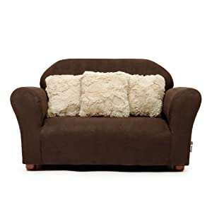 Keet Plush Childrens Sofa with Accent Pillows, Brown and Khaki