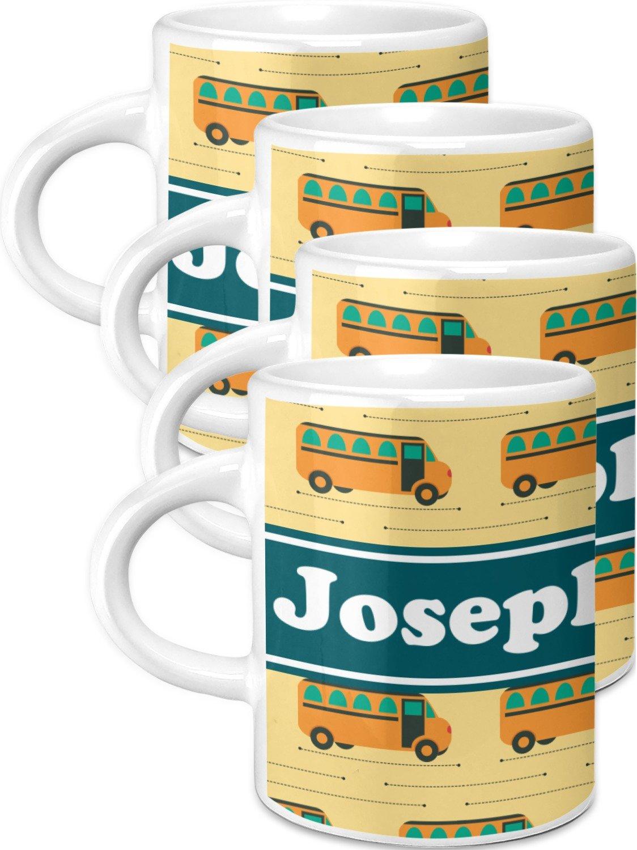 School Bus Espresso Mugs - Set of 4 (Personalized)
