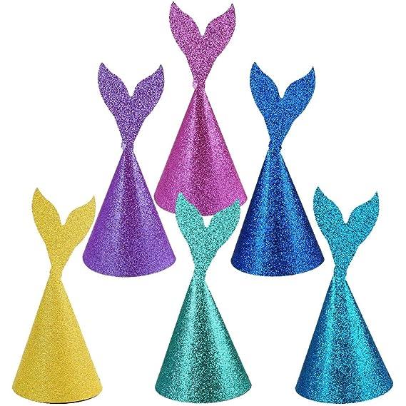 Gorros de fiesta de umpleaños para niñas, 6 Piezas diseño de cola de sirena.