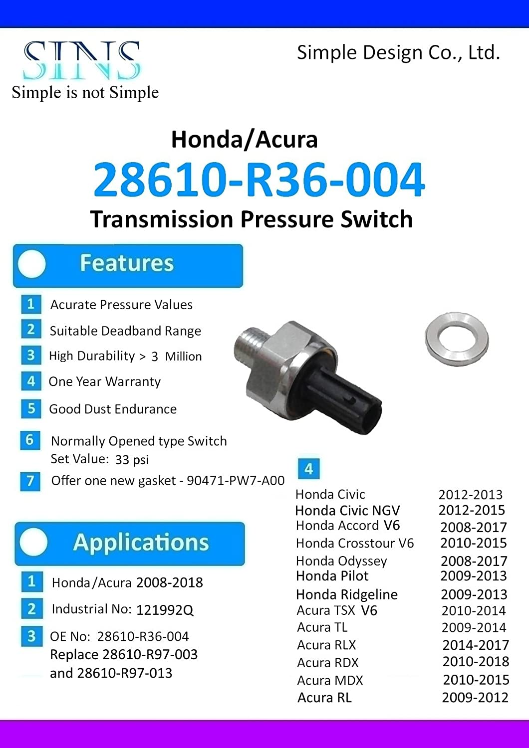 Transmission Pressure Switch For Honda Accord Odyssey Pilot Acura Cl Tl Mdx 28600 P7z