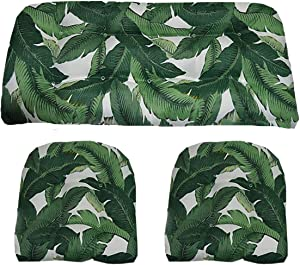 """RSH Décor Indoor / Outdoor Decorative 3 Piece Love Seat / Settee & 2 Chair Wicker Cushion Sets Made with Tommy Bahama Fabric (Standard ~ 2-19""""x19"""" & 41""""x19"""", Swaying Palms)"""