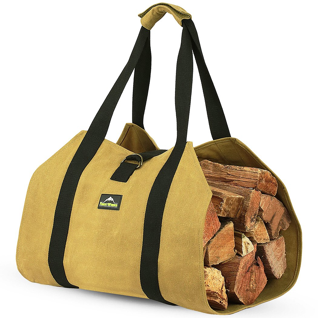 ForestWonder Log Carrier Firewood Tote Wood Carrying Bag for Fireplace 16oz Waxed Canvas - Long Heavy Duty Handle and Security Strap - Outdoor Indoor