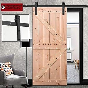 "TSMST 6ft Barn Door Hardware Kit, Heavy Duty Sliding Door Track Fit 36"" Single Wooden Door, Easy to Install,Smoothly and Quietly,J Shape Hanger"