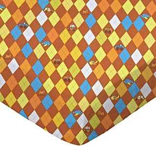 product image for SheetWorld Fitted 100% Cotton Flannel Pack N Play Sheet Fits Graco Square Play Yard 36 x 36, Argyle Transport Brown, Made in USA