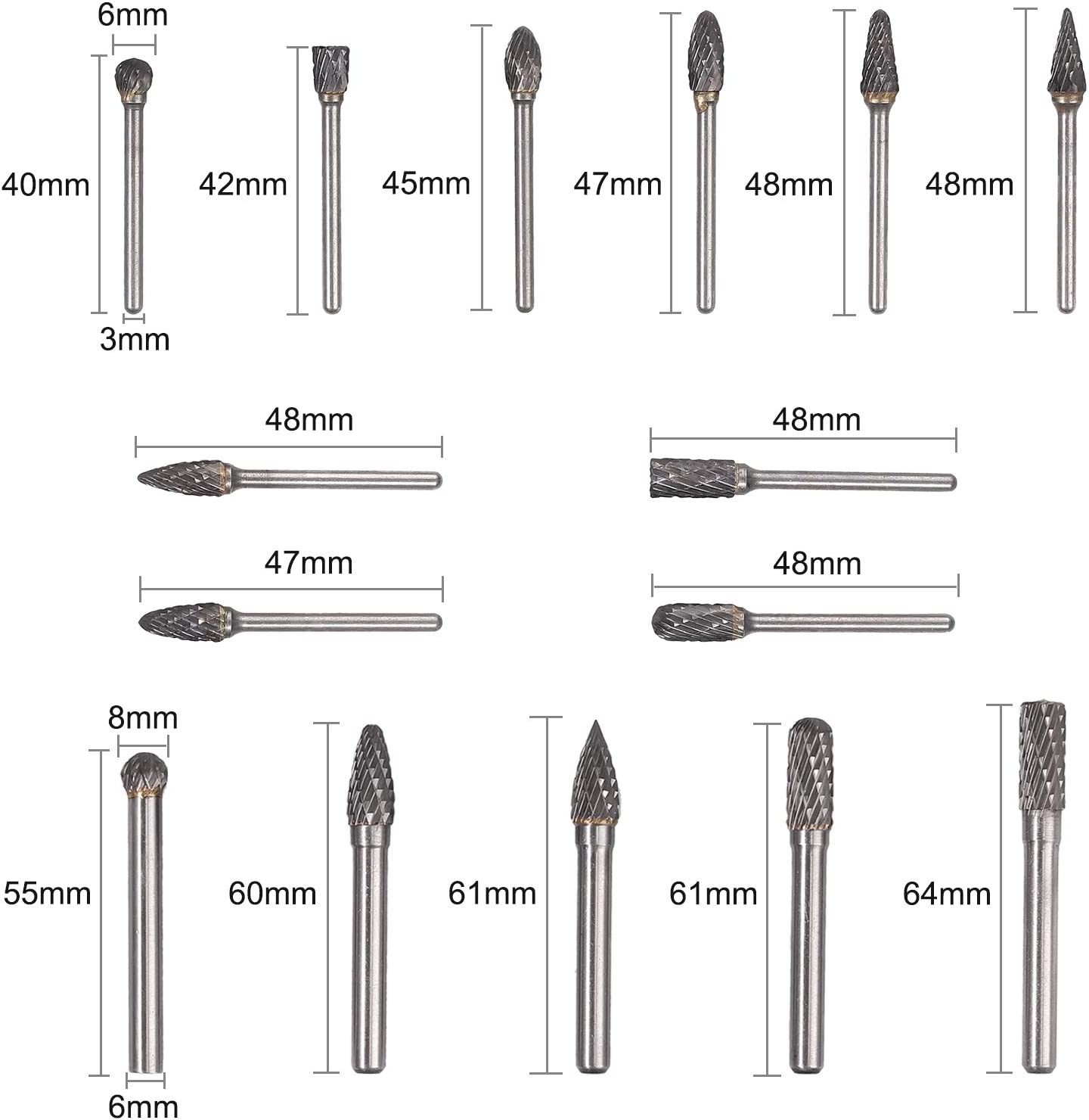 Kamtop Carbide Drill Bits15 PCS Tungsten Carbide Burr Set Double-cut Rotary Burr Kit 6mm 8mm for Rotating Tools
