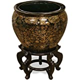 China Furniture Online Porcelain Fishbowl, 12 Inches Hand Painted Chinese Gold and Black Vine Motif Planter
