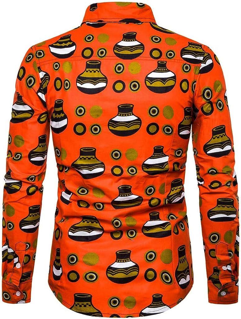 Mens Business Shirts,Mens Hawaiian Button Down 3D Print Summer Long Sleeve Tropical Aloha Dress Shirts