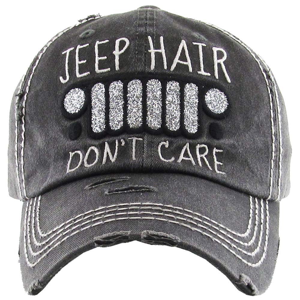 H-212-JHDC06 Distressed Baseball Cap Vintage Dad Hat - Jeep Hair Don't Care by Funky Junque